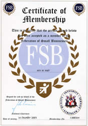 Exmoor Fascias' Certificate of Membership in the Federation of Small Businesses