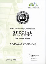 Special Commendation Certificate for Exmoor Fascias' Conservatory