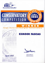 Exmoor Fascias Winner Certificate for the Conservatory Competition